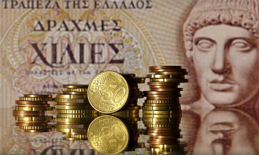 Euro coins and drachma banknote