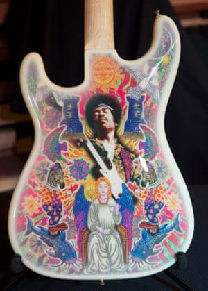 Artwork for a Fender Stratocaster, a collaboration between Aldridge and Jimi Hendrix in 1970.