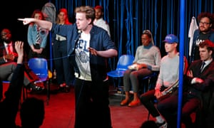 Fizzing with energy … Will Stewart as Mark Zuckerberg in F Off, a National Youth Theatre production at the Edinburgh festival.