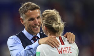 Ellen White with Phil Neville at the 2019 Women's World Cup.