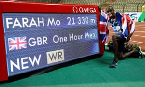 Mo Farah broke the record by 45 metres at the Diamond League meeting in Brussels.