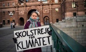 Thunberg in front of the Swedish parliament