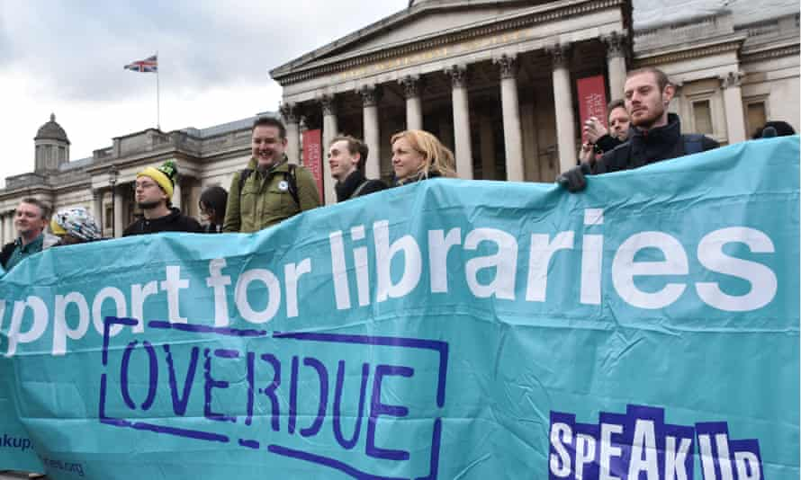 People campaign against the closures of libraries, museums and galleries across the UK