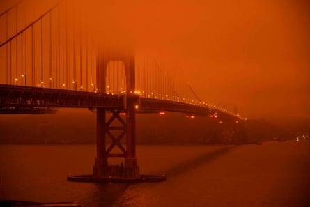 The bridge on 9 September amid wildfire smoke.