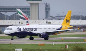 A Monarch plane lands at Gatwick airport, London.