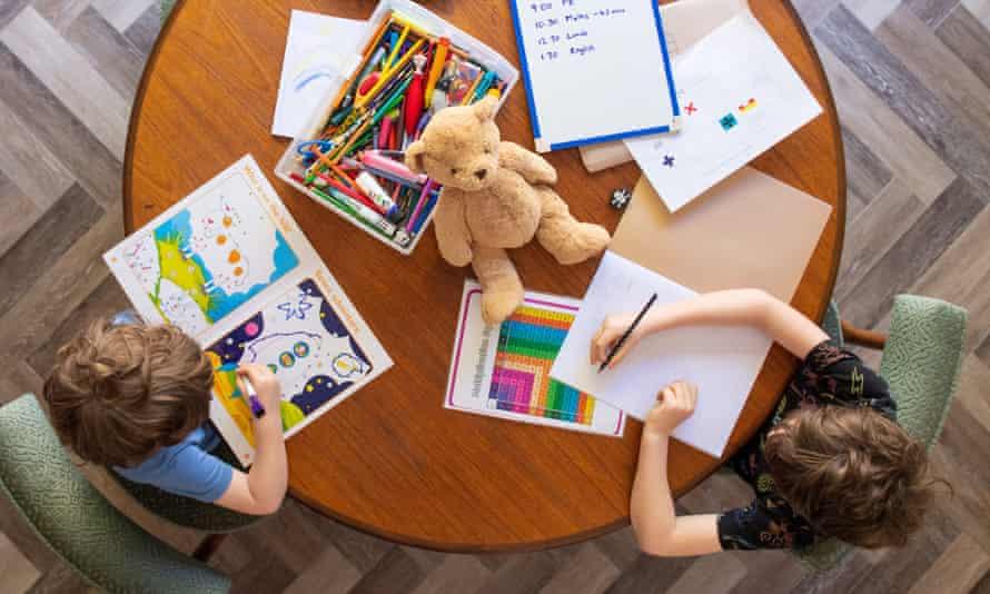 Children working at home