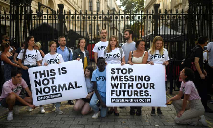 Our Future, Our Choice protesters outside of the gates at Downing Street on 28 August.