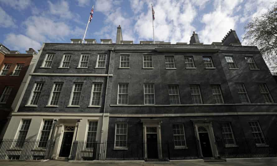 The facades of No 10 Downing Street, right, and number 11, on the left