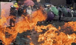 A fire burns at Polytechnic University