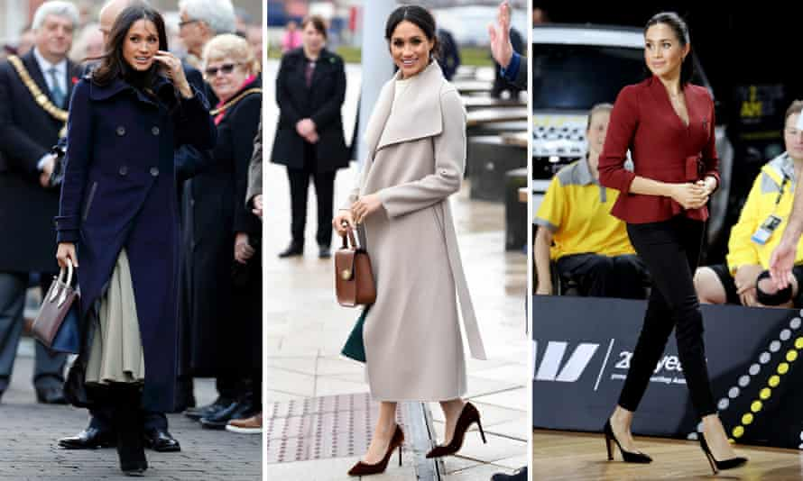 Left to right: Meghan Markle carries a Strathberry bag in Nottingham, wears a Mai coat in Belfast, and Outland jeans in Australia.
