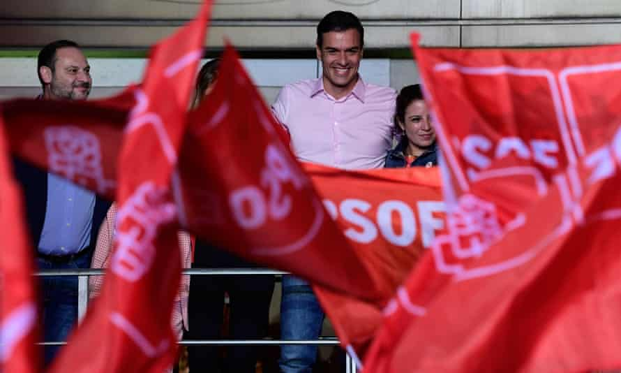 Pedro Sánchez at an election night rally in Madrid.