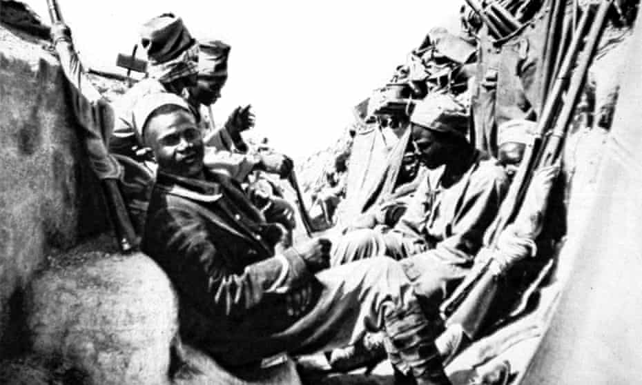 Senegalese infantrymen defend a trench during the battle of Gallipoli in 1915.