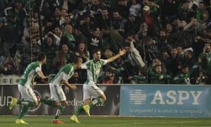 Alvaro Cejudo celebrates Betis' opening goal.
