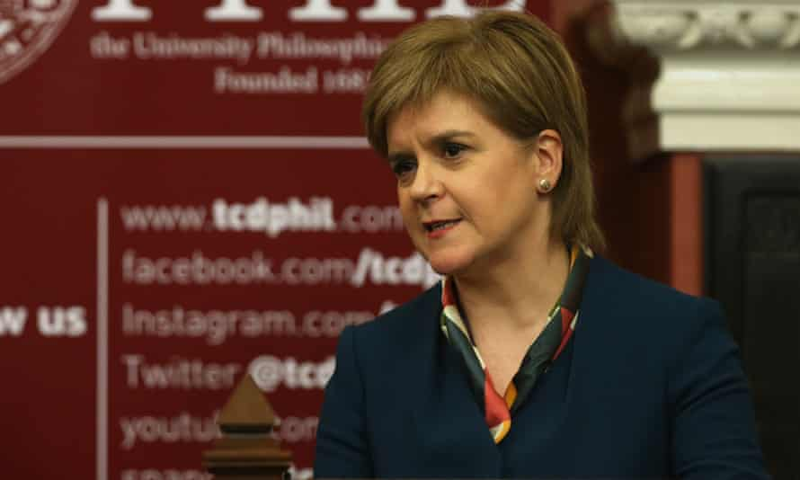 Nicola Sturgeon speaks during an event at Trinity College Dublin.
