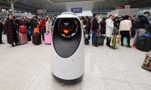 A police patrol robot at Zhengzhou East railway station.