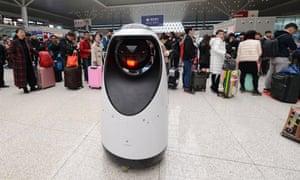 A police patrol robot at Zhengzhou East railway station.