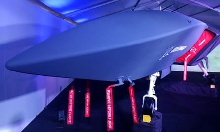 A model of Boeing's drone, the Boeing airpower teaming system, that was developed in Australia and in which Australia is investing $40m.