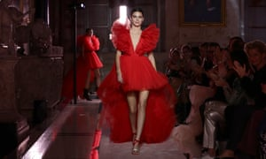Kendall Jenner walks the catwalk during the Giambattista Valli Loves H&M show in Rome last month.
