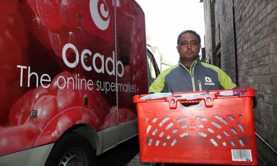 ocado delivery worker and van