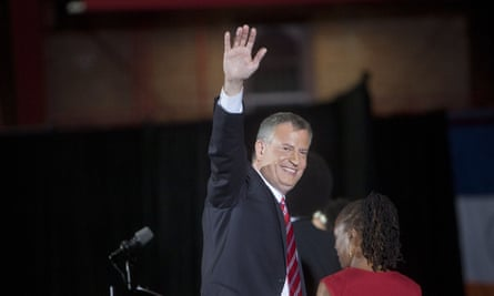 Bill de Blasio celebrates, his election as Mayor of New York at the Park Slope YMCA in Brooklyn. He still attends the YMCA gym most days.