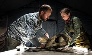 Dr Tori Herridge (right) and a fellow team member examine a woolly rhino skull