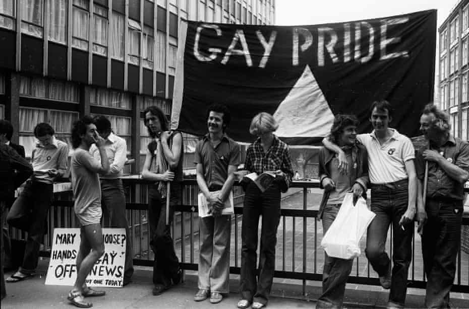 Members of the Gay Liberation Movement protesting outside the Old Bailey over Mary Whitehouse's court action against the Gay News Magazine, 4 July 1977.
