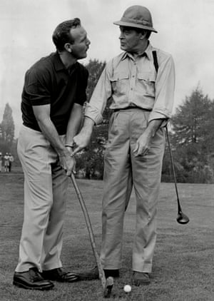 15 October 1962. Arnold Palmer with entertainer Bob Hope during the filming of Call Me Bwana at Denham, west London.