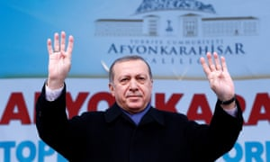 Erdoğan addresses his supporters in the province of Afyonkarahisar, in western Turkey, on Wednesday