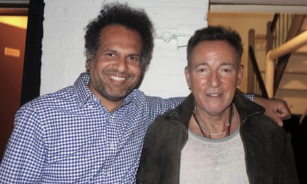 Sarfraz Manzoor and Bruce Springsteen backstage after Springsteen's Broadway show
