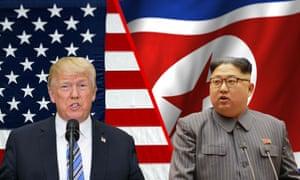 A composite image of Donald Trump and Kim Jong-un