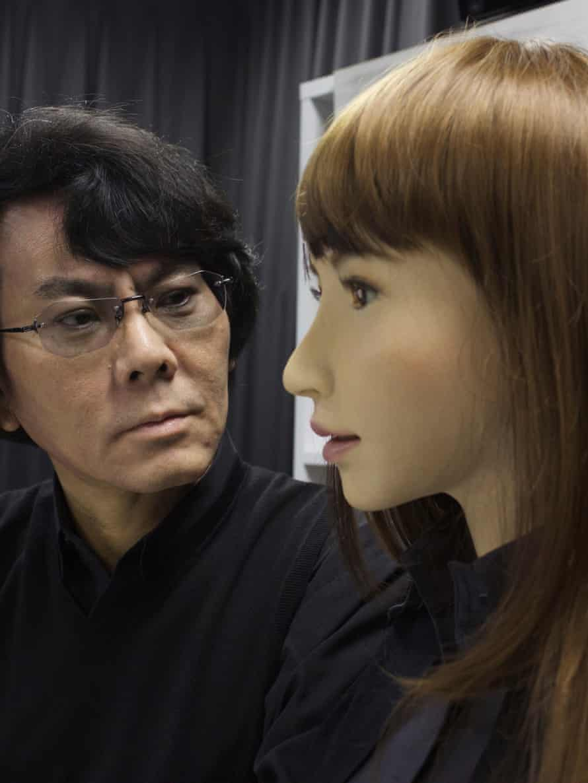 Prof Hiroshi Ishiguro with Erica, his latest humanoid robot.