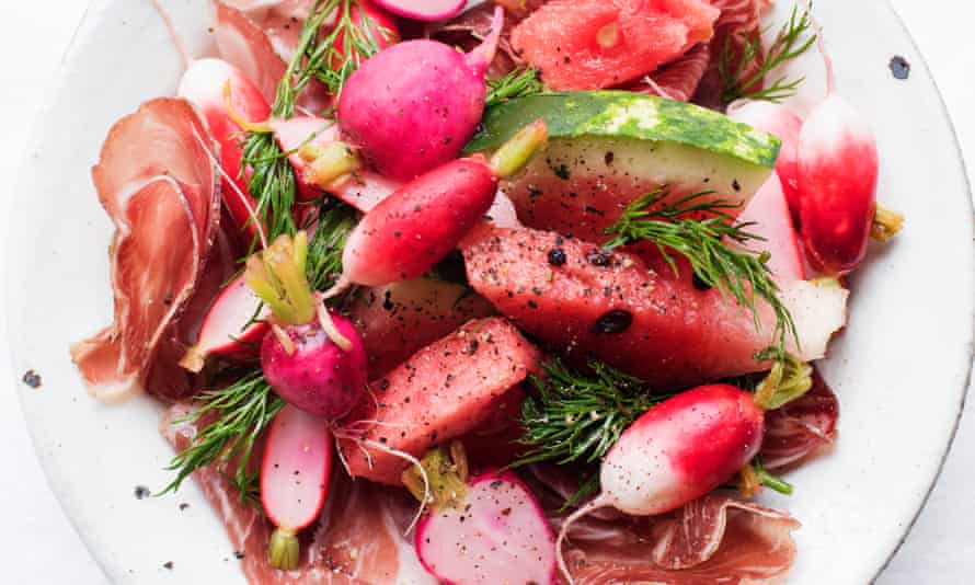 Come on you reds: watermelon, coppa and pickled radishes.
