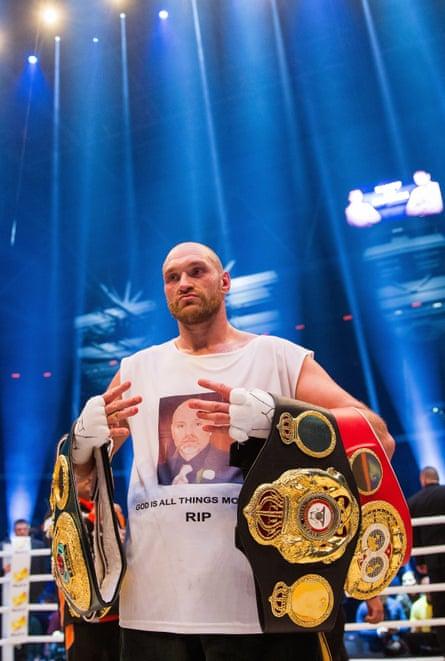 Tyson Fury celebrates after his victory over Vladimir Klitschko.