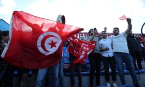 Tunisian fans offer support for their team at a training session in Russia