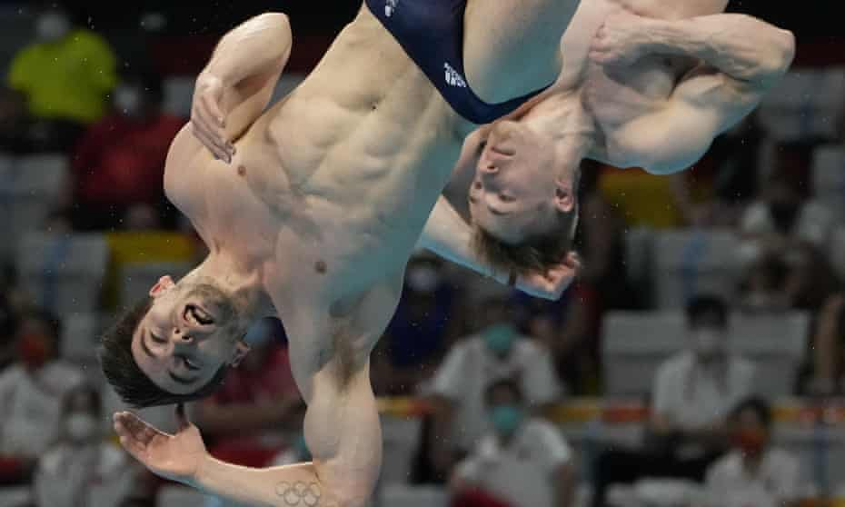 Great Britain's Daniel Goodfellow and Jack Laugher of Britain fall short during the men's synchronised 3m springboard final.