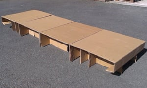 One of Elliot Lord's cardboard beds, which help homeless people stay warm and dry and which can be made using a free template.