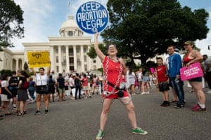 A demonstrator in Montgomery, Alabama on the March for Reproductive Freedom