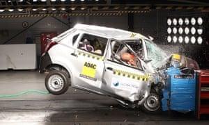 A Datsun Go crumpled after a crash test