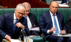Malcolm Turnbull, Scott Morrison and Peter Dutton in parliament.