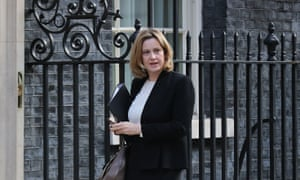 Amber Rudd, the home secretary, arriving for cabinet this morning.