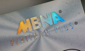 An MBNA platinum credit card