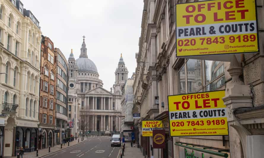 Office to let signs in the City of London.