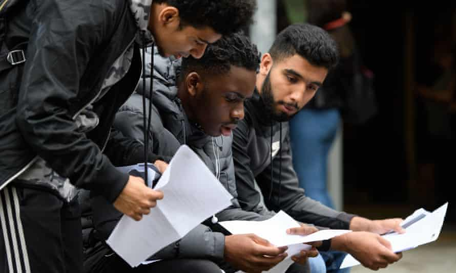 Students receive their A-level results in London, August 2017.