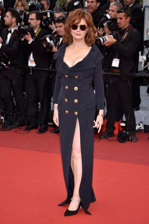 Susan Sarandon in a double-breasted, naval-buttoned dress