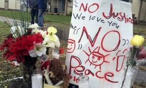 A makeshift memorial where Jamar Clark was shot.