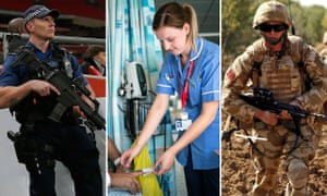 Departments fear further funding cuts would hit police numbers, cause standards of care to decline, and limit the UK's defence capability.