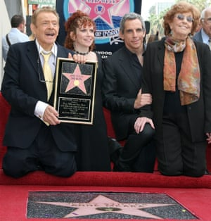 Jerry Stiller and Anne Meara posing with their children Amy and Ben, after being honoured with a star on the Hollywood Walk of Fame in 2007.