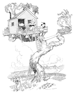 The treehouse built by Bill, Sam and Bunyip, complete with exercise yard for Albert