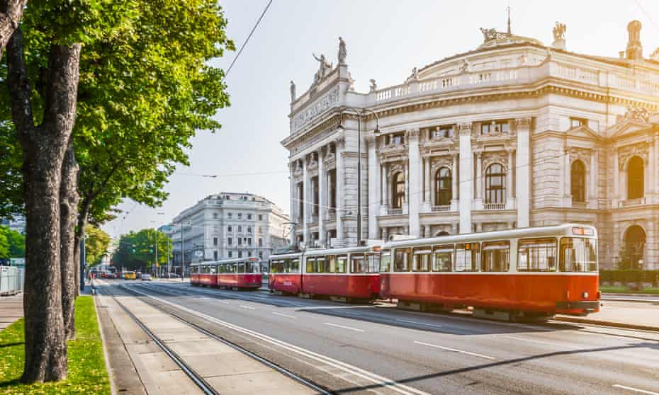 Wiener Ringstrasse with Burgtheater and tram at sunrise, Vienna