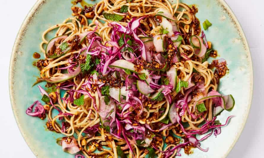 Meera Sodha's mouth-numbing noodles with chilli oil and red cabbage.